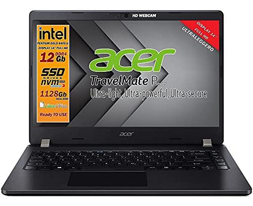 "Notebook SSD Acer Intel Gold 6405U, RAM 12GB, dual DISK 1128 Gb , display 14"" Full HD, 4 usb, wi-fi, hdmi, BT, webcam, Win 10 pro, Libre Office, Antivirus, Pronto all'Uso, Garanzia e layout Italia"