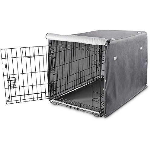 You & Me Dog Crate Cover in Grey