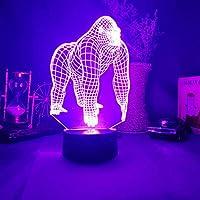 タッチスイッチ、ゴリラ3DアクリルLED7色常夜灯家の装飾寝室アートランプ上向き照明イリュージョンキッズルーム用動物常夜灯