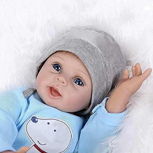 ZIYIUI Reborn Babypuppe 22 Zoll 55 cm Lebensecht Weiches Reborn Baby Vollsilikon Handgemachte Neugeborenes Reborn Baby Toddlers Junge Mädchen Spielzeug Weihnachts Geschenk