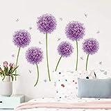 decalmile Pegatinas de Pared Diente de León Púrpura Vinilos Decorativos Flores Allium Adhesivos Pared Infantiles Habitación Dormitorio Salón