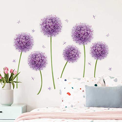 decalmile Adesivi Murali Dente di Leone Viola Adesivi da Parete Allium Floreali Decorazione Murale Camera da Letto Soggiorno Sala da Pranzo
