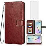 Asuwish Compatible with Samsung Galaxy S6 Wallet Case Tempered Glass Screen Protector and Flip Cover Card Holder Stand Accessories Phone Cases for Glaxay S 6 Gaxaly Galaxies GS6 SM-G920V G920A Brown