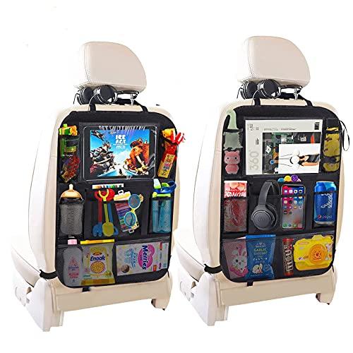 Organizadores para Coche, OKEECA 2 Pack Kick Mats de Coche Organizador para Asientos de Coches, Universal Multi-Bolsillo Protector Trasero del Asiento de Coche para Niños (8+1Pockets)
