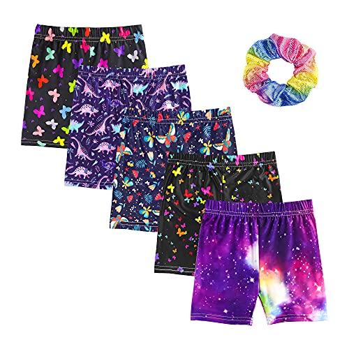KeeFsion 5 Packs Girls Shorts Color Dance Shorts Girls Safety Short Atmungsaktive Bike Short für Mädchen Bedruckte Dance Shorts Colourful Yoga Short Pant 3-10 Jahre -AA-120