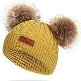 JFAN Sombrero de Invierno Bufanda para Niños Gorro de Punto para Bebés y Niños Pequeños Gorro de Invierno con Color Puro Sombrero de Doble Pompón para Niñas y Niños(B-Amarillo,Talla única)