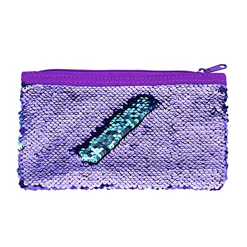 Cute Kids Pencil Case Glitter Reversible Sequin Pen Pencil Pouch for Girls Cosmetic Makeup Organizer Bag Purse for Women (Purple)