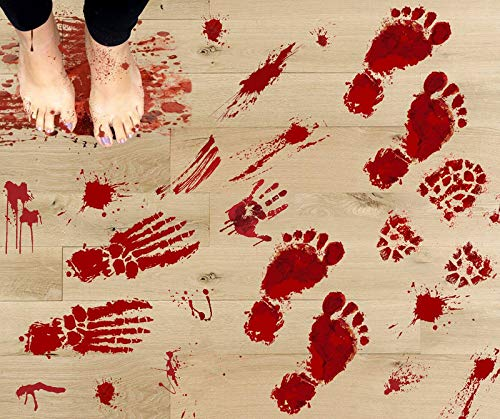 126PCS Bloody Footprints Floor Clings - Halloween Handprint Zombie Restroom Sign Decals Vampire Party Decorations Stickers Wall Supplies?14 Sheets?