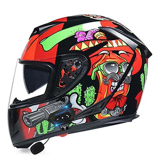 Casco de motocicleta modular de cara completa Casco de motocicleta de doble visera con tapa integrada Bluetooth para hombres y mujeres adultos Casco de moto ciclomotor aprobado por DOT/ECE,G,L
