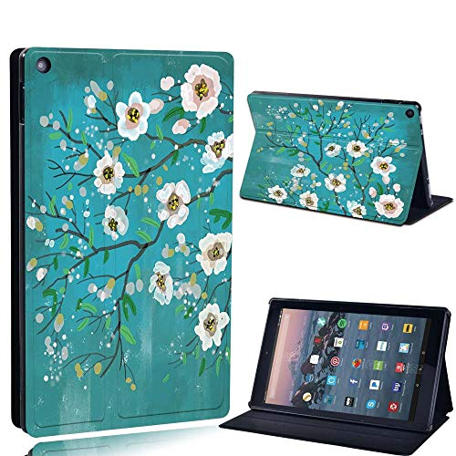 FINDING CASE For Amazon re HD 10 (5th 7th 9th Gen) Tablet - Printed PU Flip Leather Smart Lightweight Shell Stand Cover Case for re HD 10 (5th 7th 9th Gen) (white flower paint)