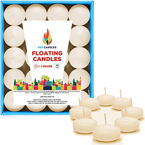 The Dreidel Company Unscented Floating Candles, Set of Ivory Floating Tea Lights Candles with Nice and Smooth Flame, Party Accessories (60-Pack)