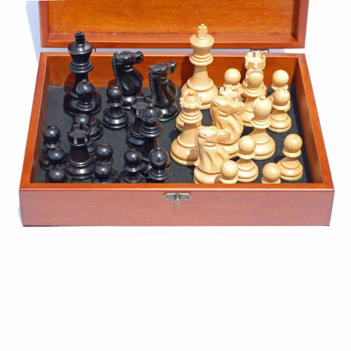 WE Games Jacques Chessmen - Black Stained Kari Wood with 3.75 in. King - in Wooden Treasure Box