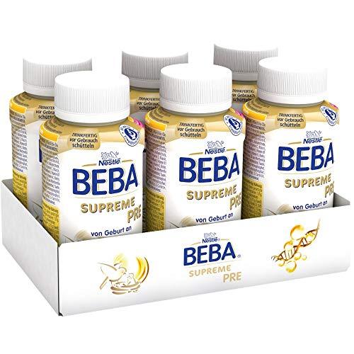 Nestlé BEBA SUPREME PRE Anfangsmilch: trinkfertige Portionsflaschen, mit Omega 3, 6er Pack (6x200 ml)