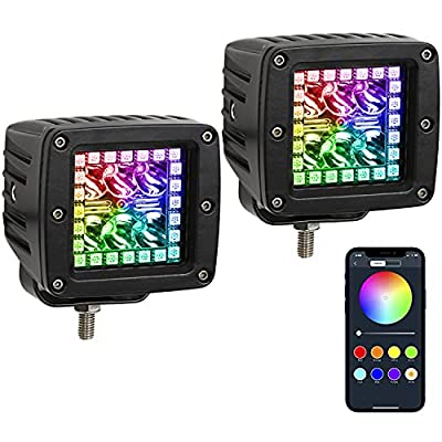 Amazon - 35% Off on 18w 3″ Led Work Light with Chaser RGB Halo 10 Solid Colors Over 72