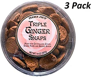 Trader Joe's Triple Ginger Snaps - 3 Pack (14 oz tubs each)