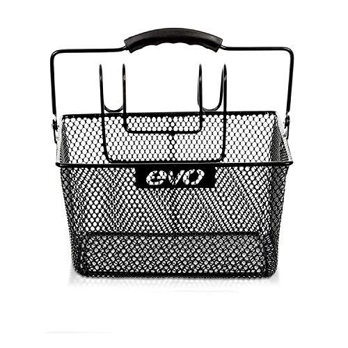 EVO E-Cargo Handlebar Bicycle Basket - Lift-Off Steel Mesh Wire Bike Basket - Black