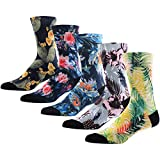Novelty Awesome Crew Athletic Socks for Men, MEIKAN Colorful Floral Flower Plant Fancy Design Printed Mid Calf Socks ,5 Pairs Color 2,One Size