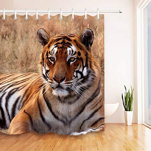 123456789 71X71 Tiger stof douchegordijn set badkamer polyester liner accessoires nieuw