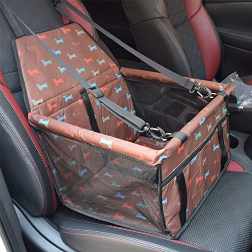 YUEWEI - Funda para asiento de coche para perro, impermeable, bolsa de transporte de mascotas, bolsa para perro, malla para colgar, protector para gatos, café, 40 x 32 x 24 cm