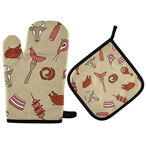 N\ A Oven Mitts and Pot Holders Sets for Microwave BBQ Cooking Baking Grilling Barbecue Delicious Food Oven Gloves Potholder Non-Slip Heat Resistant Kitchen Counter Safe Mats Soft Cotton