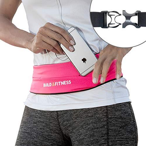 Build & Fitness Laufband - Bauchtasche mit Verstellbarer Taillenweite, Schlüsselclip - Passt für Alle Telefone, Schlüssel, Karten - Bauchtasche Damen und Herren - Laufen, Walken, Fitnessstudio, Sport