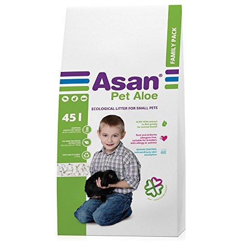 Asan 100% Arena Natural Higiénicamente Extra Respetuosa para Animales Domésticos 45 L,...
