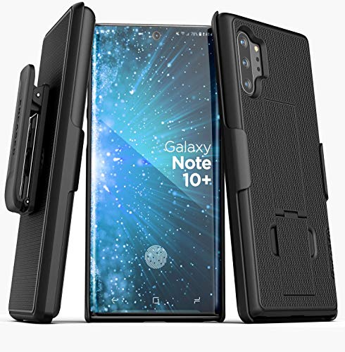 Encased Galaxy Note 10 Plus Belt Clip Case (2019 DuraClip) Ultra Slim Cover with Holster, Matte Black (Samsung Note 10+)
