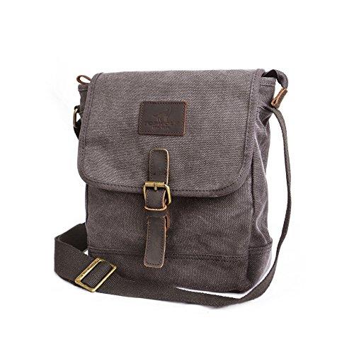 Canvas Messenger Bag TOPWOLF Small Crossbody Bag Casual Travel Working Tools Bag Shoulder Bag Hold Phone Handset Anti Theft