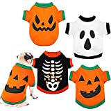 4 Pieces Dog Halloween Shirt Puppy Shirts Pet Clothes Funny Skeleton, Pumpkin Head,Ghost T-Shirt for Small Dogs Cat Halloween Tee Shirt Halloween Cosplay Pet Apparel (Extra Small Size)
