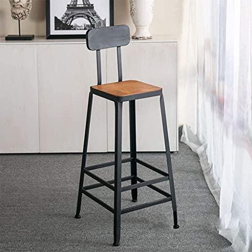 Fashion Hierro Art Modern Bar Taburetales para exteriores Silla de comedor de asiento de madera para exteriores, Barra de cocina Silla de taburete de altura Silla de taburetes industriales (altura: 75