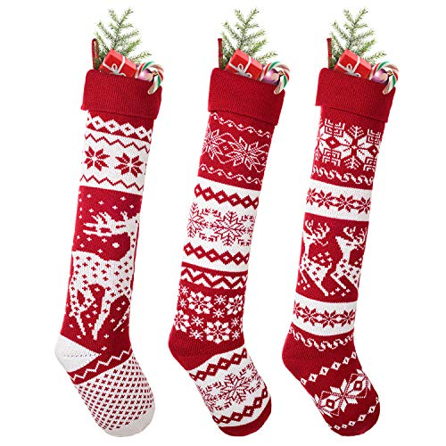 DearHouse 3 Pack Knit Christmas Stockings, 26 Inch Extra Long Hand-Knitted Maroon/White Big & Little Reindeer Snowflakes Holiday Décor (Big Reindeer, Little Reindeer, Snowflakes)