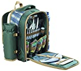 Andes 4 Person Deluxe Picnic Set Hamper Backpack/Rucksack Cool Bag, Includes Cutlery, Plates