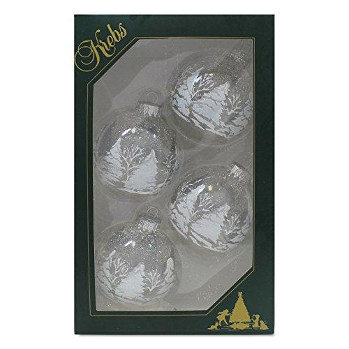 4er Set Weihnachtskugeln Christbaumkugeln Kugeln Kristall mit Winterwald-Dekor/Glitter, mundgeblasener Baumschmuck aus Glas Ø ca. 7 cm