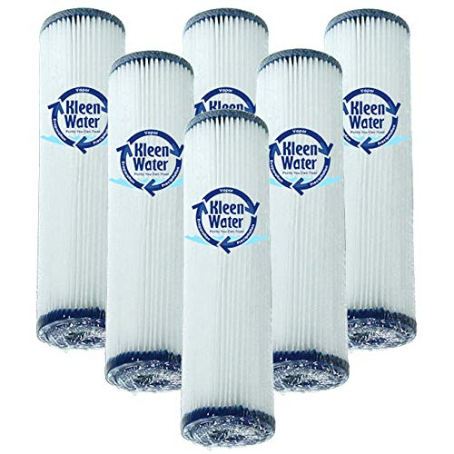 KleenWater 5 Micron Pleated Dirt and Sediment Water Filters, Compatible with Whirlpool WHKF-WHPL & GE FXWPC, 2.5 x 9.75 Inch, Set of 6