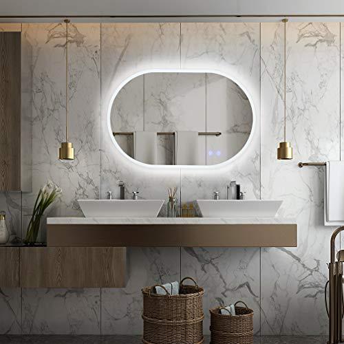 Gasonny 32 x 20 Inch LED Bathroom Mirror Dimmable Anti-Fog Large Bathroom -