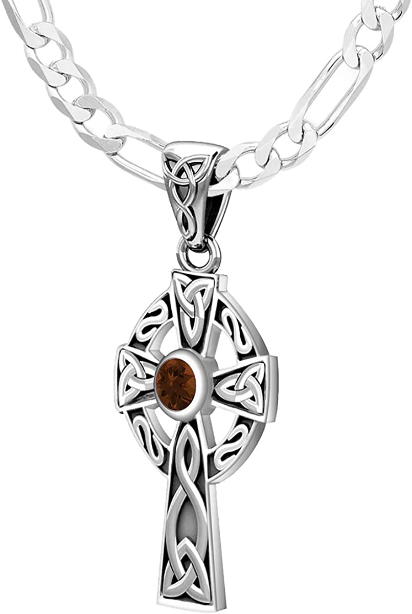 18in to 24in US Jewels Ladies Small 925 Sterling Silver 23mm Celtic Knot Cross Genuine Garnet January Birthstone Pendant Necklace
