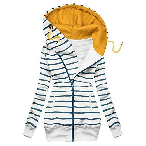 yazidan Hoodie Damen Herbst Winter Kapuzenpullover Mit Reißverschluss Frauen Streifen Sweatshirt Mit Kapuze Outwear Oberbekleidung Jacken Mäntel Coats