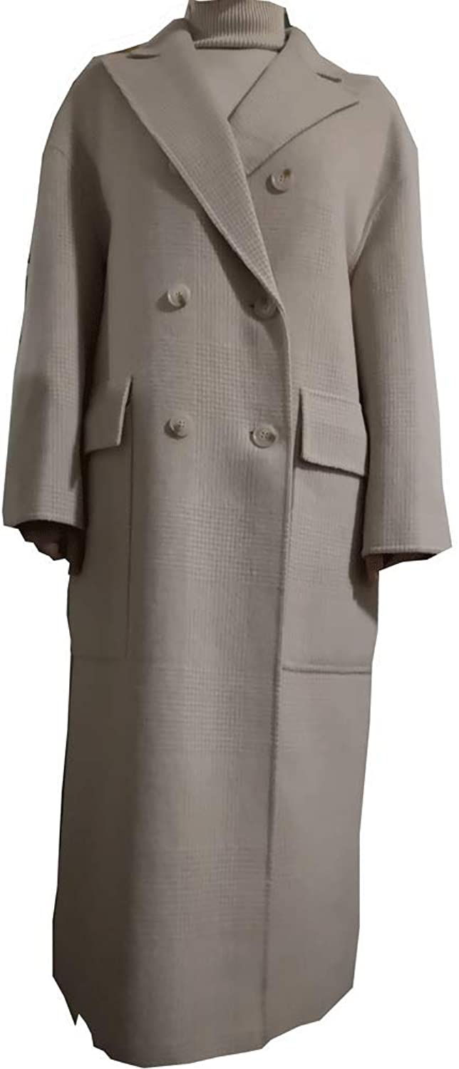 CG Women's Wool Double Breasted Long Coat Notch Lapel Button Winter Solid Cardigan Pea Coats Jacket 890g036