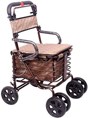ZJZ Rolstoel Kleine Winkelwagen Winkelwagen Pushable Kan Ouderen Vouwen Walker Vierwielige Winkelwagen/Scooter Lading 100 kg