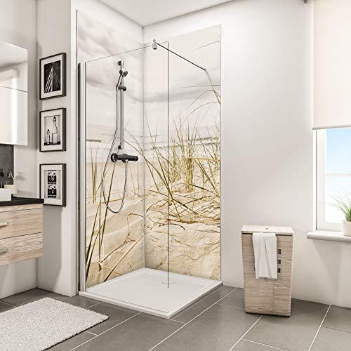 Schulte Duschrückwand Set über Eck, Nordsee Düne, 2 x 90x210 cm, Wandverkleidung aus Alu-Dibond als fugenloser Fliesenersatz