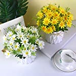 uikkot artificial daisy bouquet with small ceramic vase fake silk daisies flowers fake plant bonsai decoration for home office table centerpieces arrangement wedding (daisy yellow)