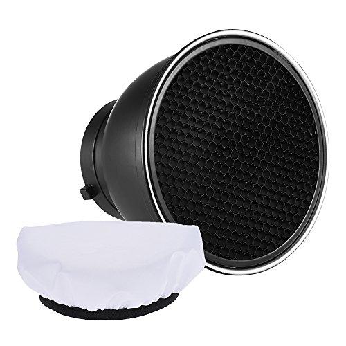 """Andoer 7"""" Reflector Difusor Lámpara Plato con 60° Rejilla de Nido de Abeja Blanco Paño Suave para Montaje de Bowens Estudio Flash Speedlite Luz (con Tela Blanca)"""