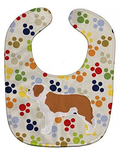 "Caroline's Treasures BB6381BIB Saint Bernard Pawprints Baby Bib, 10 x 13"", multicolor"