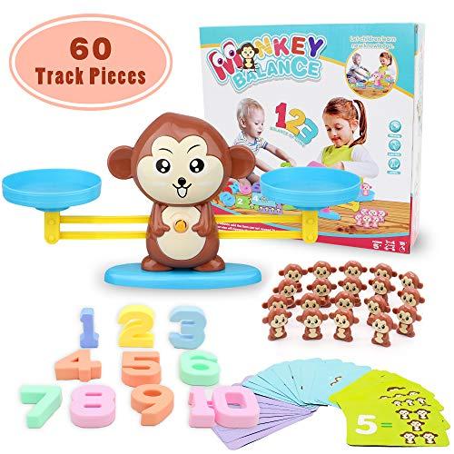 Joyjam Giocattolo Educativo Bambini Bilancia Equilibrio a Forma di Scimmia Animale Gioco di Apprendimento Studia Matematica Conteggio Giochi per Bambini più di 3 Anni