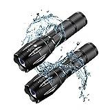 Linterna LED de alta potencia, AISOO 2 Piezas Linterna Táctica Brillante Resistente al Agua con 5 Modos de Luz para Camping, Seguridad, Uso de Emergencia (2 PCS)