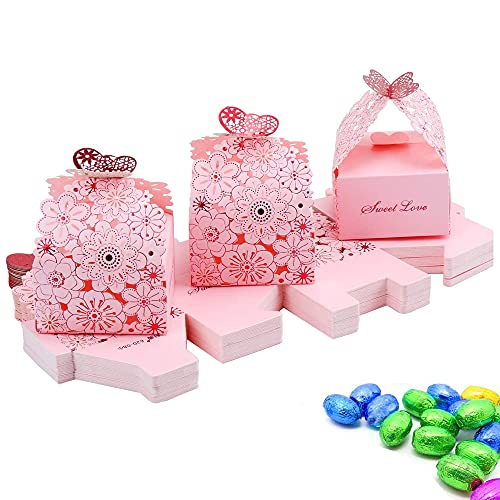 20 Piezas Caja Caramelos, Caramelo Cajas Regalo, Caja De Dulces De Boda, Cajas De Papel Para Dulces, Cajas De Dulces Con Diseño De Mariposa De Flores Para Bodas, Aniversario (Rosa)