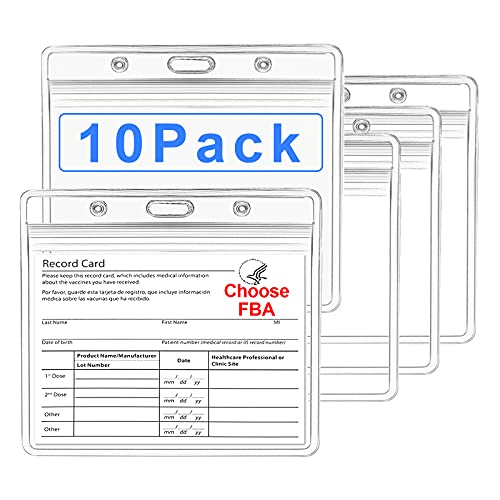 10 Pack CDC Vaccination Card Protector 4x3 in, Upgrade Immunization Record Vaccine ID Card Name Tag Badge Card Holder, Clear Vinyl Plastic Sleeve Cover Waterproof Resealable Zip, for Travel & Events