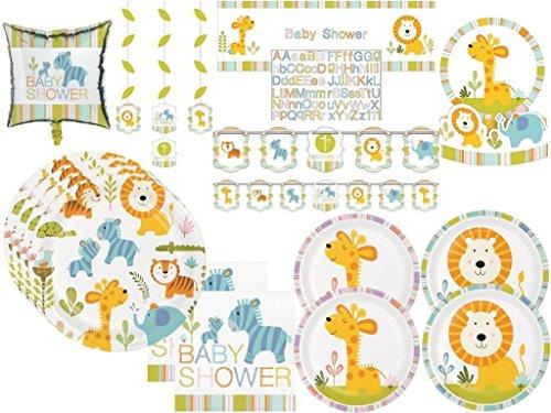 Paper Art Baby Shower Happi Jungle Safari Lion, Jirafa, Tortuga, Elefantes Deluxe Party Vajilla y Decoraciones Kit para 32 Invitados