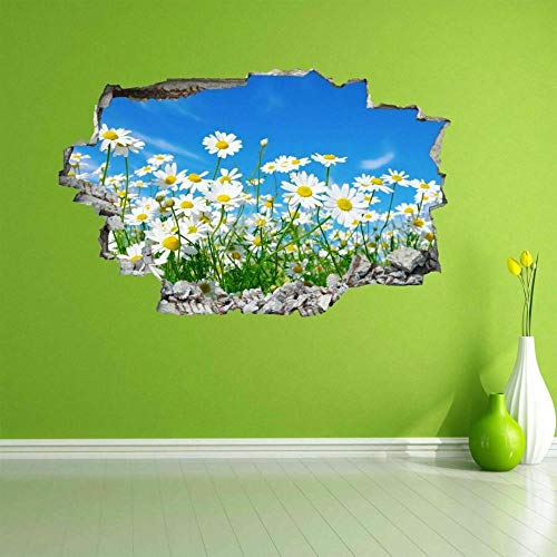 DQPCC Wall Sticker White Daisy Flower Daisies Wall Art Sticker Mural Decal Home Office Decor