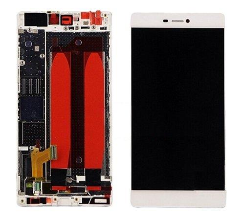 Premium ✔ kompl. Pantalla táctil LCD con Marco para Huawei Ascend P8Gra de ul10(White)–Complete LCD Display Assembly with Frame–Incluye Nano–Set de 3en 1de limpieza de–White